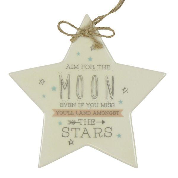 Aim For The Moon Ceramic Star Plaque