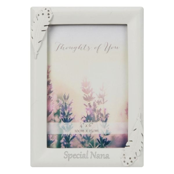 Feather and Crystals Nana Memorial Frame