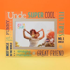 Cheerful Glass Uncle Photo Frame