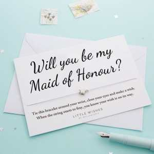Will You Be My Maid Of Honour Wish Bracelet Card