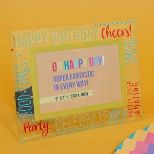 Happy Birthday Glass Photo Frame