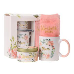 Wonderful Mum Mug, Socks & Candle Gift Set