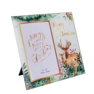 Reindeer Christmas Glass Photo Frame