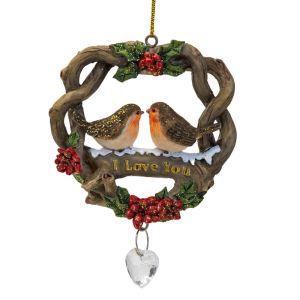 Robins in Nest I Love You Christmas Decoration