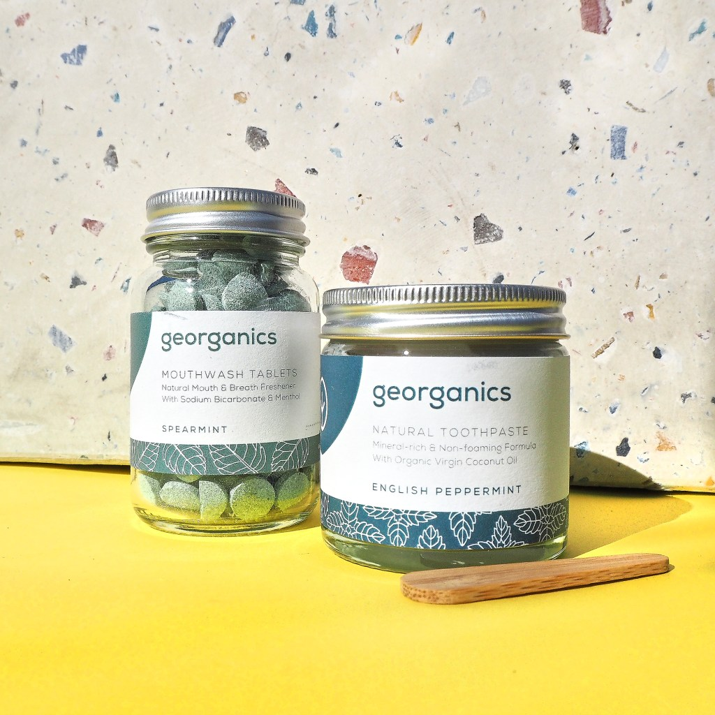 toothpaste and mouthwash tablets by georganics in glass jars
