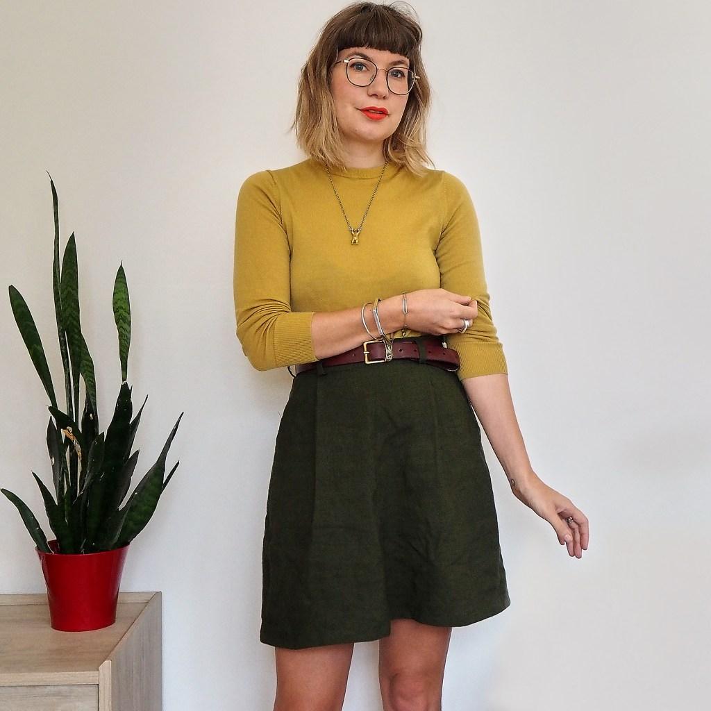 pulling up sleeves in hemp skirt