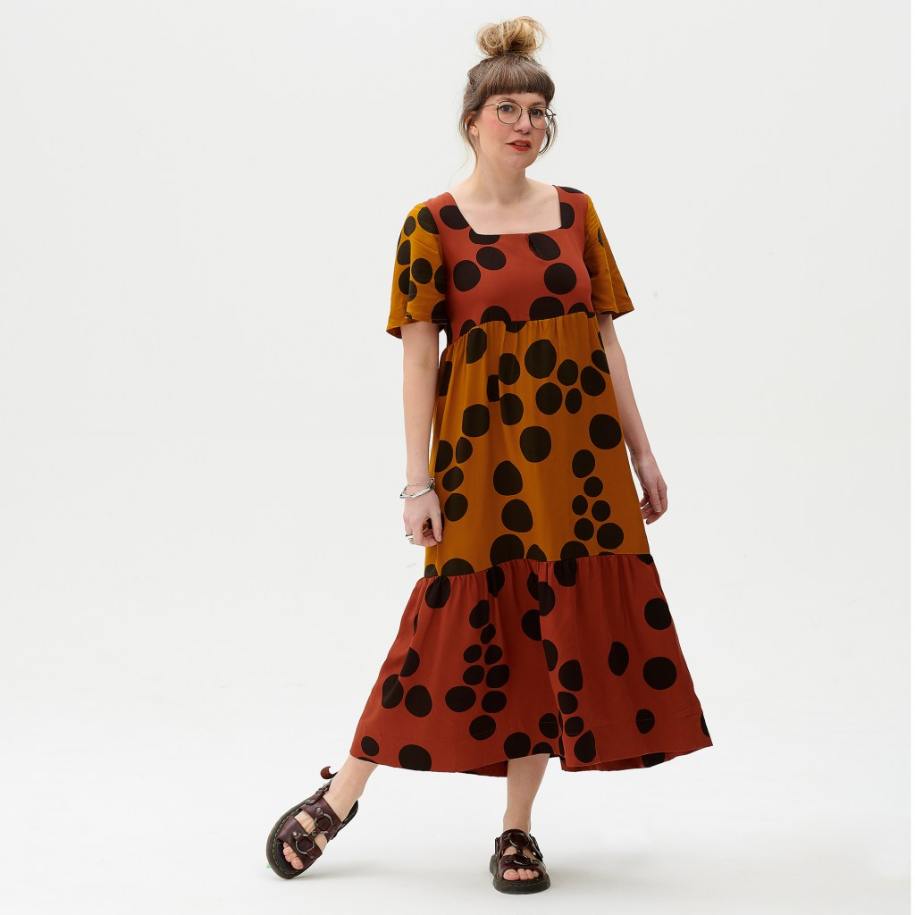 Ruby Rose wearing a spot tent dress