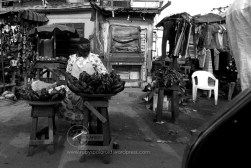 plantain seller in thought
