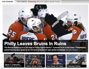 Screenshot of ESPN.com main page