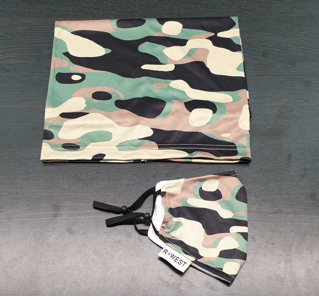 Adult camouflage mask and neck gaiter combo