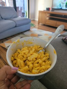 A healthier version of mac and cheese with pumpkin  and cauliflower.