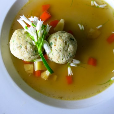 Wild onion matzo ball soup