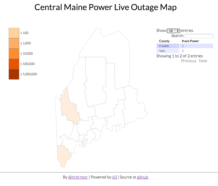 One More Time…Mapping Maine Power Outages with D3