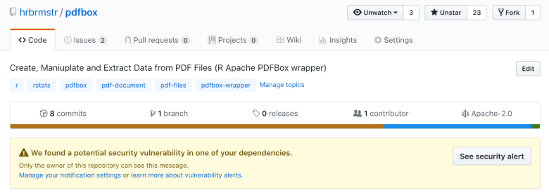Use GitHub Vulnerability Alerts to Keep Users of Your R Packages