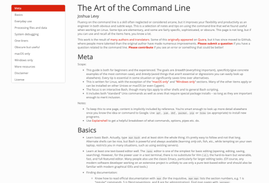"""Making a Command Line HTML Rendering Script for """"The Art of the Command Line"""" (in R)"""