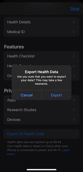 apple health data export screenshot