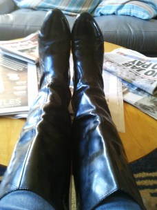 Leather boots from a garage sale for $7