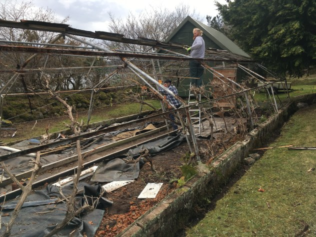 removal of metal frame for old greenhouse