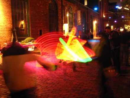 A sword fight in a cobblestone alley -- Distillery District