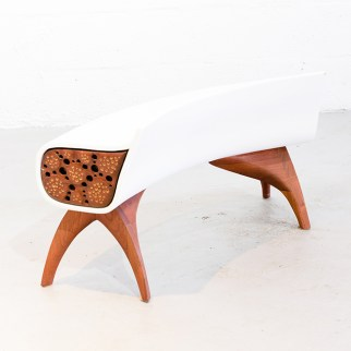 Ipe, Mahogany, Resin Footstool.