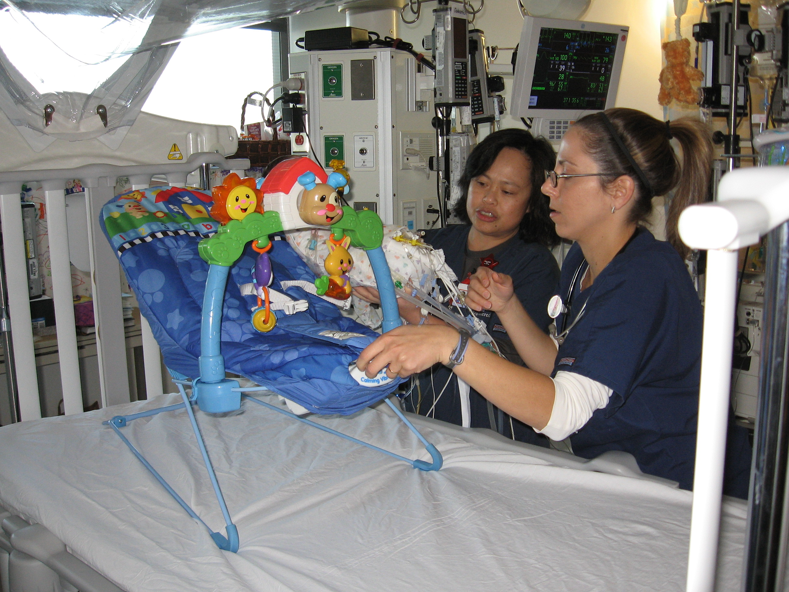 Nurses Filma and Rosella position Rudy