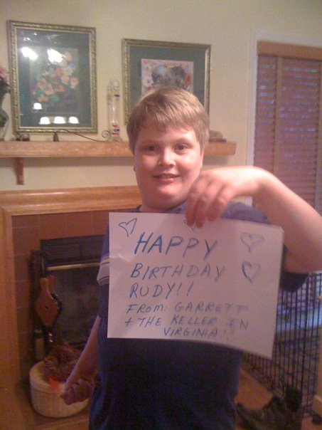 Garrett (13, HLHS) didn't have any clothes the right color, but wanted it noted that his choice of a Rudy-blue pen duly noted. (small world--Rolf and Garrett's Mom went to HS together in NJ.)