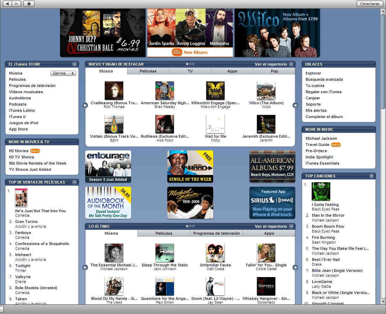Portal de la tienda iTunes.