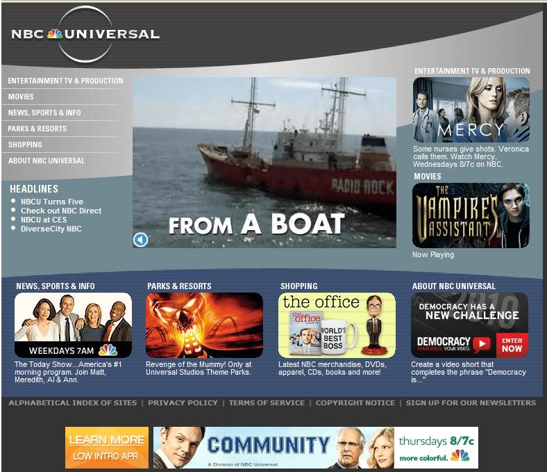 Detalle de la página frontal del sitio de Internet de NBC Universal.