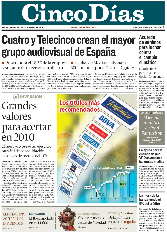 Portada del diario Cinco Días anunciando el acuerdo entre Cuatro y Telecinco.