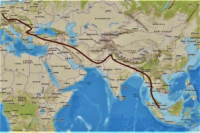 geplante route von singapur dürch südostasien