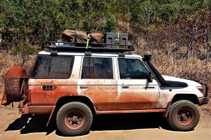 Our Landcriuser after 4 weeks in the bushlands of Australia. From Australia to Germany by car