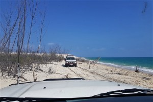 Police car on the beach of Fraser Island, Australia