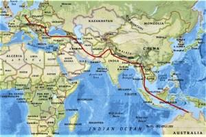 Route von Australien nach Deutschland über Südostasien