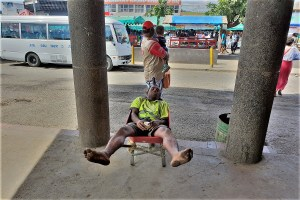 Taking a nap at lunch time at Lautoka market