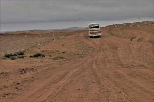 Bus in the Mongolian desert