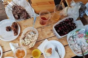 Abendessen auf dem Campingplatz