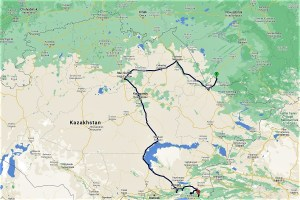 Travel route Kazakhstan