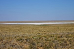 Salt lake in Kazakhstan