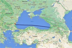 My route across the Black Sea