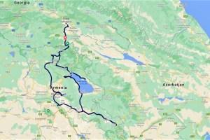 Unsere Route durch Armenien