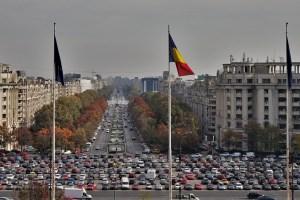 Ein Blick vom Parlamentspalast auf Bukarest