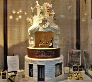 Store window at Demel pastry shop