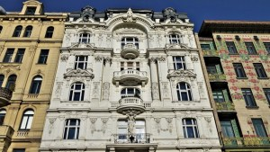 Hausfassade in Wien, Österreich