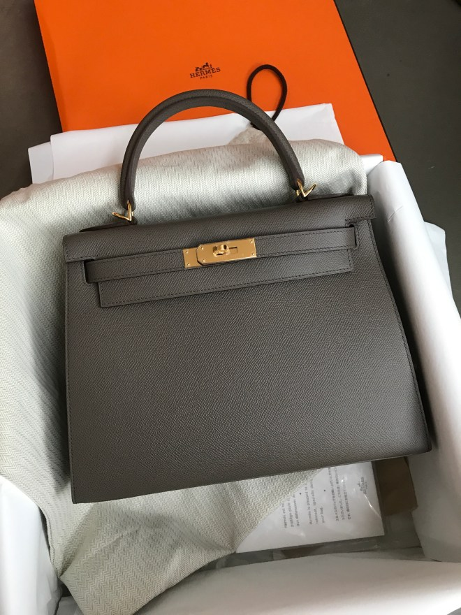 Hermes Kelly 28 etain sellier ghw