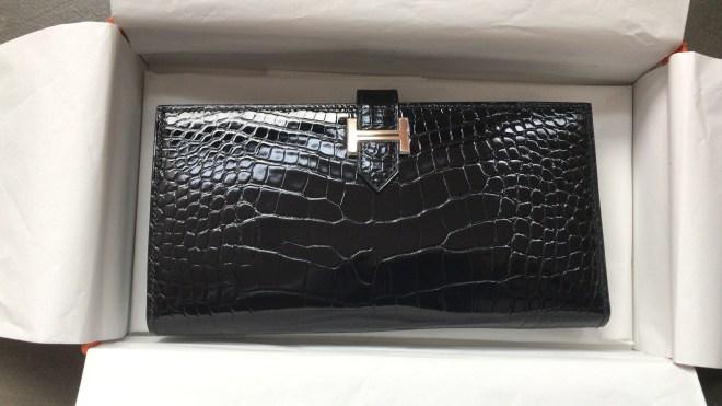 hermes Bearn wallet Black Croc RGHW