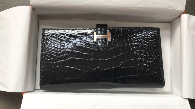 hermes Bearn wallet Black Croc RGHW