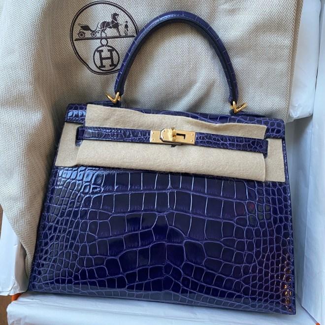 Hermes kelly 25 Blue Encre alligator GHW