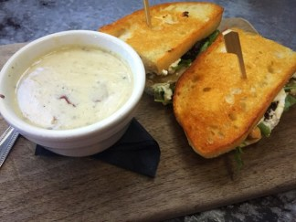 Grilled Ricotta Cheese on Sourdough w/ Potato & Leek Soup