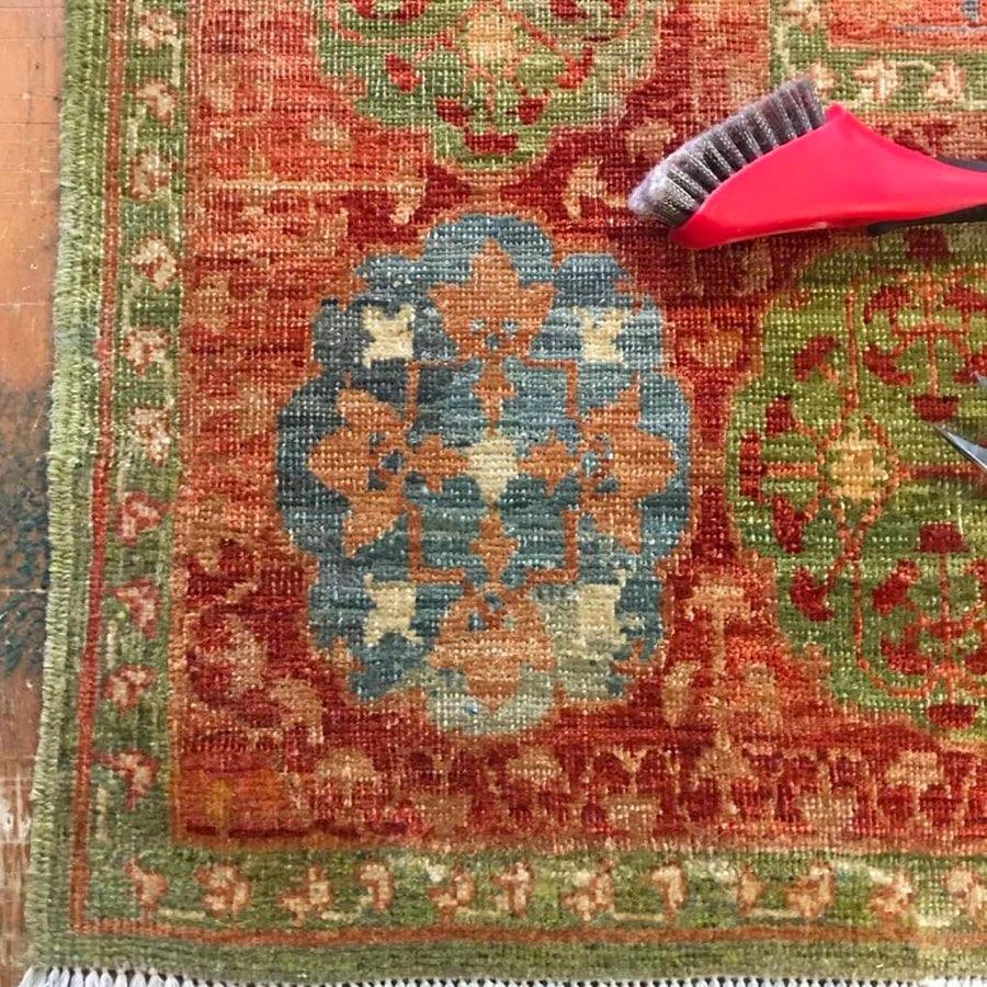 Hand-knotted Mamluk design rug after restoration