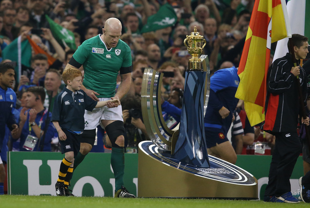2015 Rugby World Cup Group D, Millennium Stadium, Cardiff, Wales 11/10/2015 Ireland vs France IrelandÕs Paul O'Connell walks out past the Webb Ellis Trophy Mandatory Credit ©INPHO/Billy Stickland